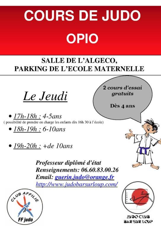 Des cours à Opio ! - Judo Club le Bar Sur Loup